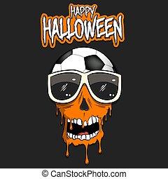 Happy Halloween. Soccer ball with skull
