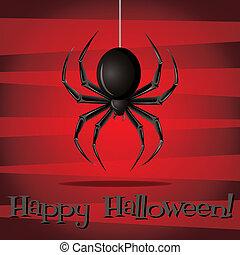 Happy Halloween! - Spider Halloween card in vector format.