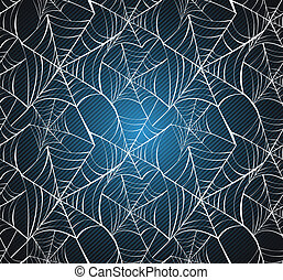Happy Halloween spider webs seamless pattern over blue...