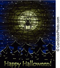 Happy Halloween spidermoon wallpaper, vector illustration