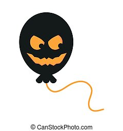 happy halloween, spooky balloon horror face trick or treat party celebration flat icon design