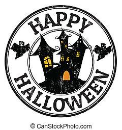 Happy halloween stamp - Happy halloween grunge rubber stamp ...