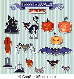 Happy Halloween stickers set for design.