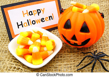 Happy Halloween tag with candy corn and jack-o-lantern candy...