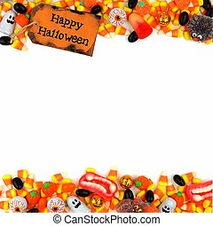 Happy Halloween tag with candy double border over white