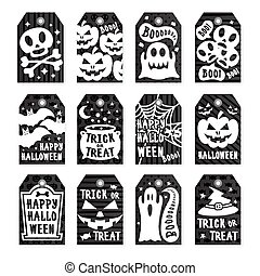 Happy halloween tags set white color on black background with skull, pumpkin, spider, bat