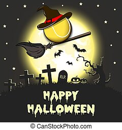 Happy Halloween. Tennis ball with witch hat on a broomstick against the background of the moon. Pattern for banner, poster, greeting card, flyer, party invitation. Vector illustration