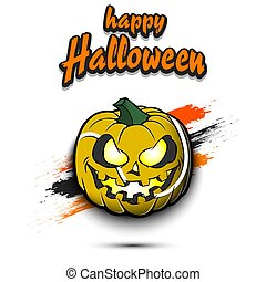 Happy Halloween. Template tennis design. Tennis ball in the form of a pumpkin on an isolated background. Pattern for banner, poster, greeting card, flyer, party invitation. Vector illustration