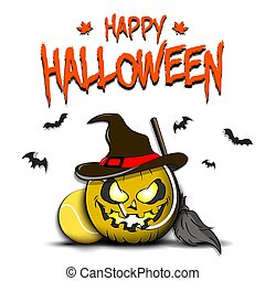 Happy Halloween. Template tennis design. Tennis ball in the form of a pumpkinin in witch hat on an isolated background. Pattern for banner, poster, greeting card, invitation. Vector illustration