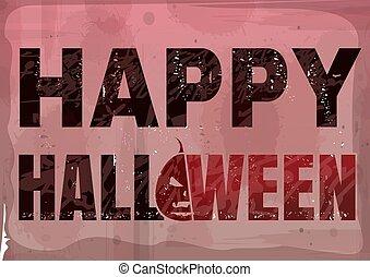 Happy Halloween text banner in grunge style. Halloween ...