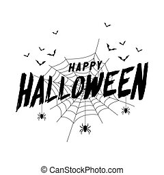 Happy Halloween text banner with bat and spider web.