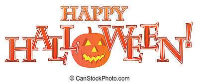 Happy Halloween text design illustration