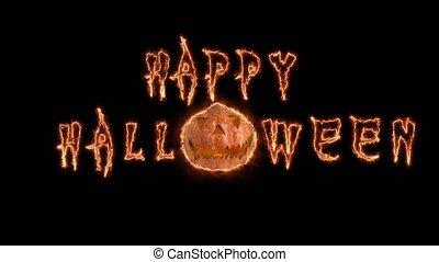 Happy Halloween text fire pumpkin computer animation. Black background