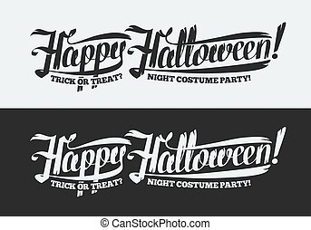 Happy Halloween text isolated on black and white background Hand lettering Vector illustration.