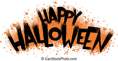 Spooky cartoon text of the words Happy Halloween.