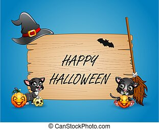 Happy Halloween text with black cats on frame