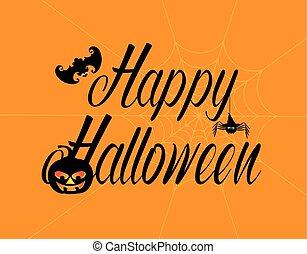 Happy Halloween Text with Spider Pumpkin Bat Illustration