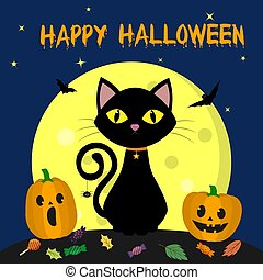 Happy Halloween. The Halloween cat sits against the full moon at night. Two pumpkins, candy and leaves, volatile vampires and stars. Vector, flat style, cartoon.