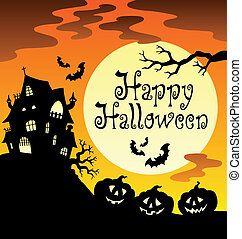 Happy Halloween theme with Moon 1