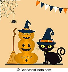 Happy Halloween. Three pumpkins on each other, in the hat of a witch. A black cat sits behind pumpkins. A web and a spider, flags.