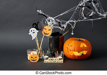 happy halloween toy blocks and party decorations