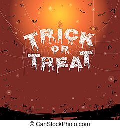 Happy Halloween, trick or treat banner background with flying bats and graveyard