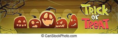 Happy Halloween Trick Or Treat Banner Different Pumpkins ...