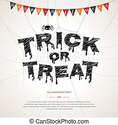 Happy Halloween, trick or treat poster background in white grunge