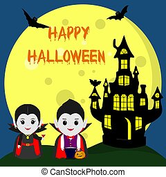 Happy Halloween. Two Vampire Dracula in the style of the cartoon stand next to the castle in the background of the moon at night. Cocktail, pumpkin with sweets, flying vampires and stars.