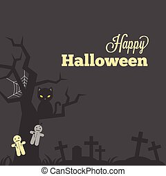 Happy halloween typographic with grave stone and grave yard, cross, grass, curse doll, black cat and cobweb, design in vintage style for poster, invitation or greeting card