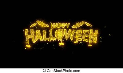 Happy Halloween Typography Written with Golden Particles...