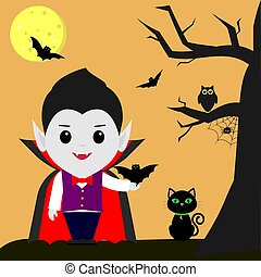 Happy Halloween. Vampire Dracula cartoon holds a bat in his hand. Black cat, owl, tree, spider, full moon at night, sweets, volatile vampires.