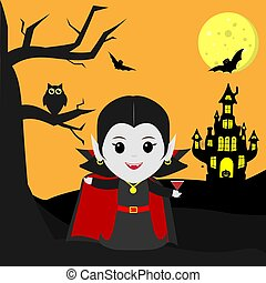 Happy Halloween. Vampire Dracula in the style of the cartoon stands next to the castle in the background of the moon at night. Holds a cocktail. A tree, an owl, flying vampires and stars.
