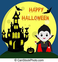 Happy Halloween. Vampire Dracula in the style of the cartoon stands next to the castle in the background of the moon at night. Holds a cocktail. Pumpkin, flying vampires and stars.