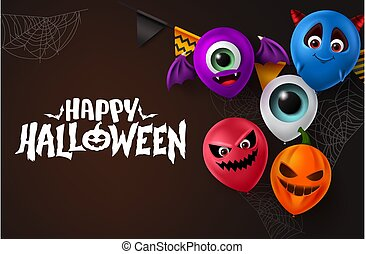 Happy halloween vector background design. Happy halloween text with colorful scary balloons elements in character face like bat, devil, pumpkin, demon and eyeball for halloween trick or treat party.