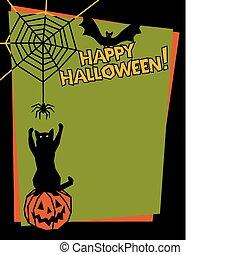 Happy Halloween - Vector background of a mischievous cat ...