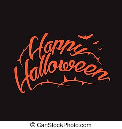 Happy Halloween Vector Background with Hand Lettering