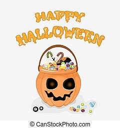 Happy Halloween vector background with text for design your postcard.