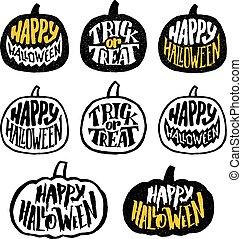Happy Halloween vector badges or labels design