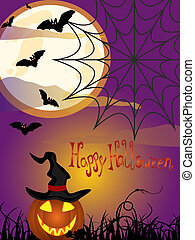 Happy halloween - Vector illustration of a pumpkin on a...