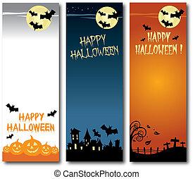 Happy Halloween vector illustration vertical banner set flat design