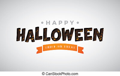 Happy Halloween vector illustration with typography lettering on white background. Holiday design for greeting card, banner, celebration poster, party invitation.