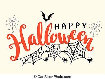 Happy Halloween vector lettering.
