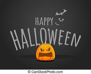 Happy Halloween vector logo with pumpkin