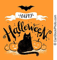 Happy Halloween vector postcard
