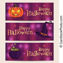 Happy Halloween! Vector set of holiday banners.