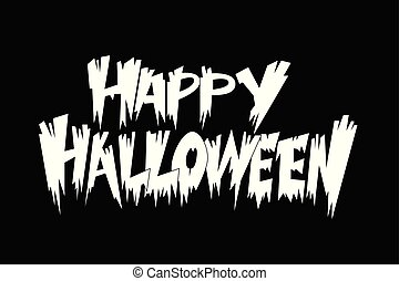 Happy Halloween! White vector isolated illustration on black background
