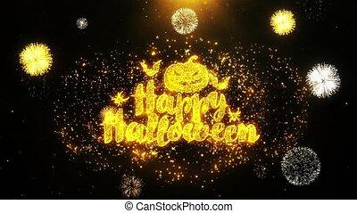 Happy Halloween Wishes Greetings card, Invitation, Celebration Firework Looped 1