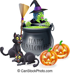 An illustration of a cartoon witch with cats, pumpkins and bubbling cauldron filled with green witch's brew