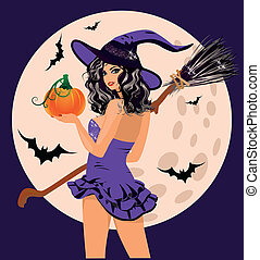 Happy Halloween. witch pumpkin